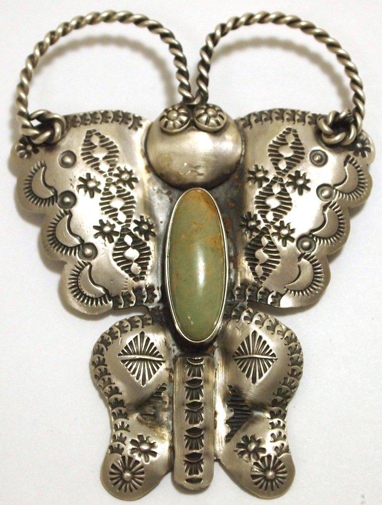 Navajo Green Turquoise Sterling Silver Butterfly Pendan