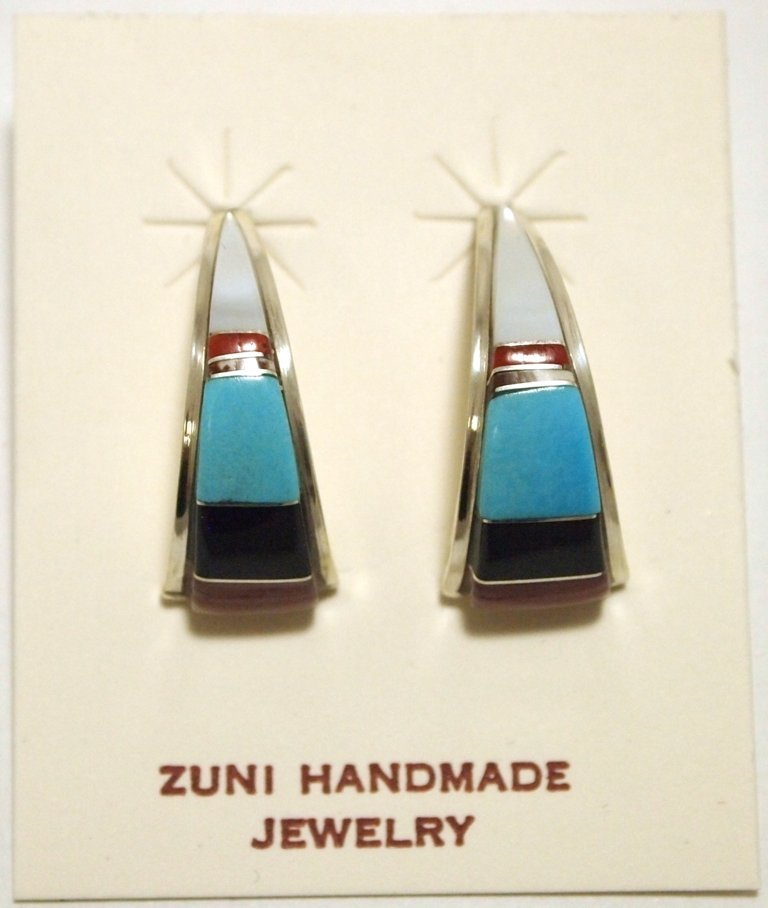 Zuni Multi-Stone Inlay Sterling Silver Curved Post Earr