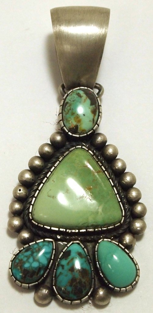 Old Pawn Navajo Multi-Turquoise Sterling Silver Pendant