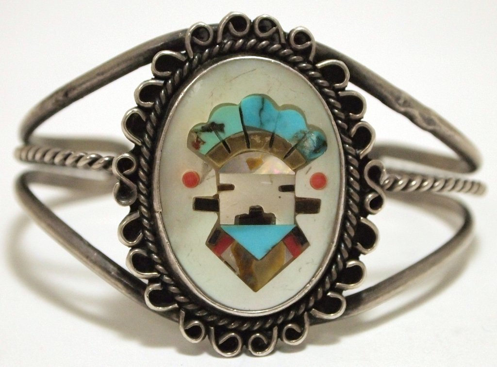 Vintage Old Pawn Zuni Multi-Stone Inlay Kachina Sterlin