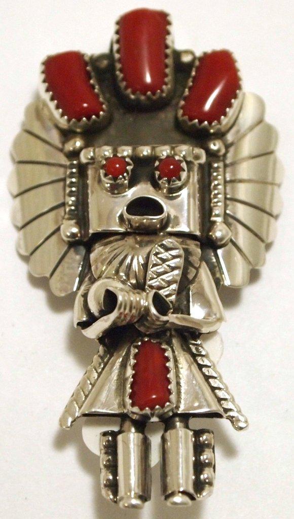 Navajo Coral Sterling Silver Kachina Pendant & Pin -