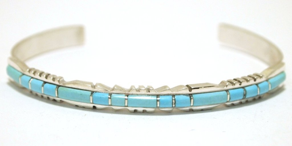 Zuni Turquoise Overlay Sterling Silver Cuff Bracelet -