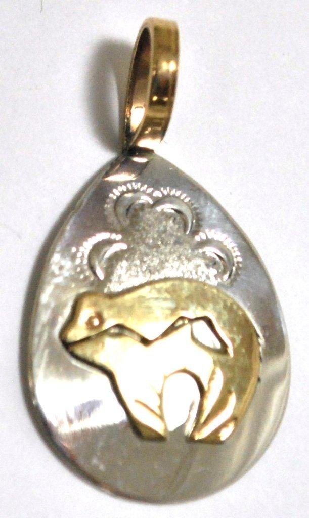 Navajo 12k Gold Filled Bear Sterling Silver Pendant -