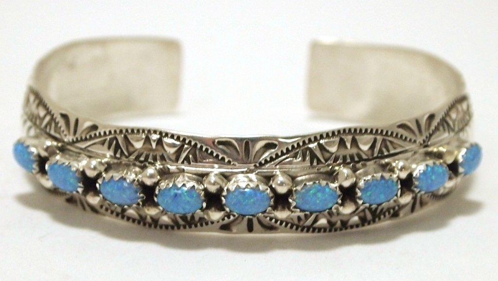Navajo Blue Opal Sterling Silver Cuff Bracelet -