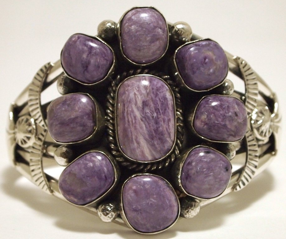 Navajo Charoite Sterling Silver Cuff Bracelet - Mary