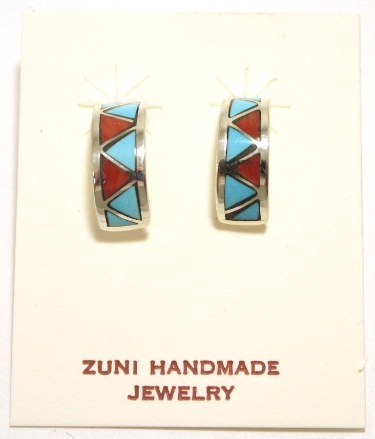 Zuni Coral & Turquoise Inlay Sterling Silver Half-Ring