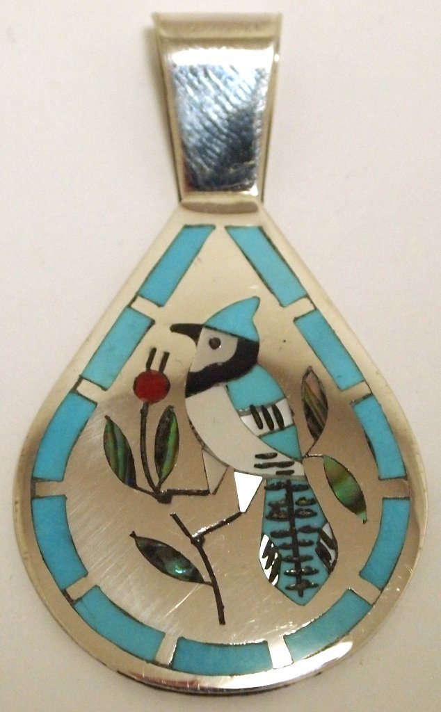 Zuni Multi-Stone Inlay Bluebird Sterling Silver Pendant