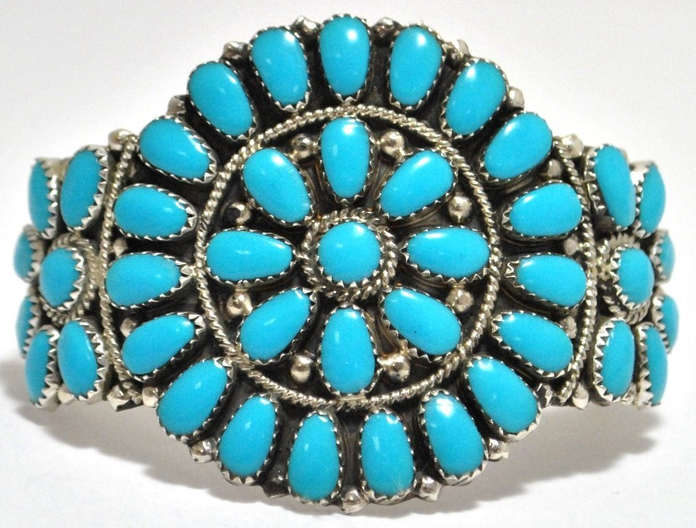 Navajo Turquoise Cluster Sterling Silver Cuff Bracelet
