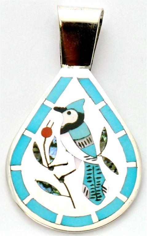 Zuni Multi-Stone Blue Bird Pendant - Dennis & Nancy