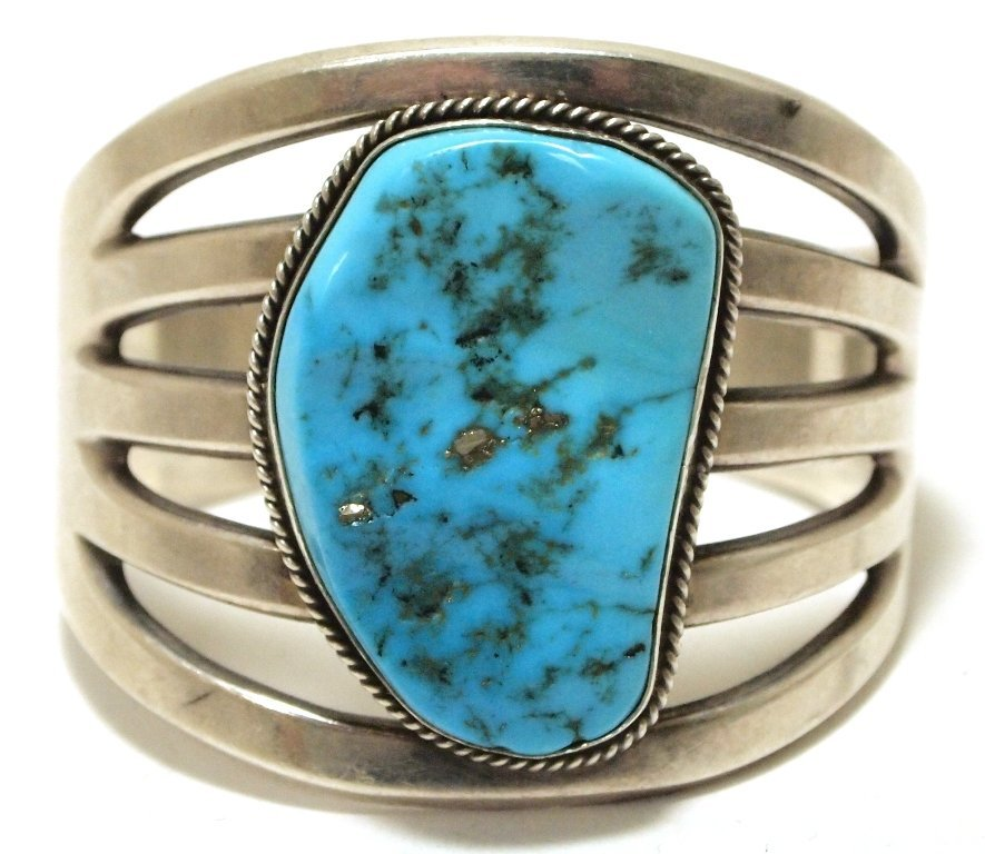 Old Pawn Navajo Turquoise Sterling Silver Cuff Bracelet