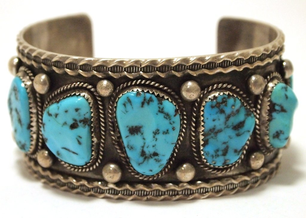 Old Pawn Navajo Sleeping Beauty Turquoise Sterling
