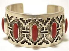Old Pawn Navajo Coral Sterling Silver Cuff Bracelet -