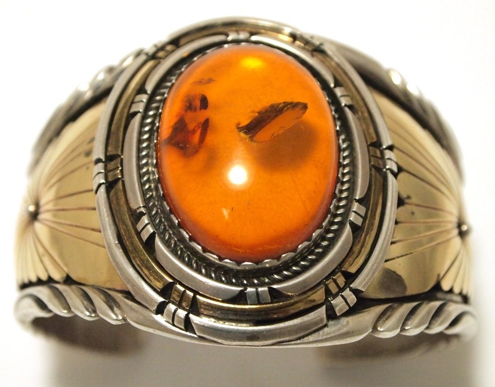 Old Pawn Navajo Amber 12k Gold Fill over Sterling
