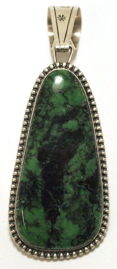 Old Pawn Navajo Green / Black Turquoise Matrix Sterling