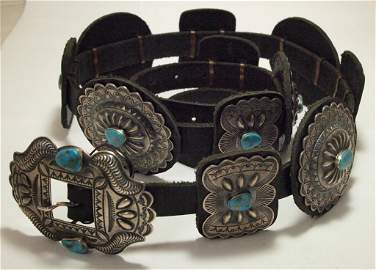 Old Pawn Navajo Morenci Turquoise Sterling Silver