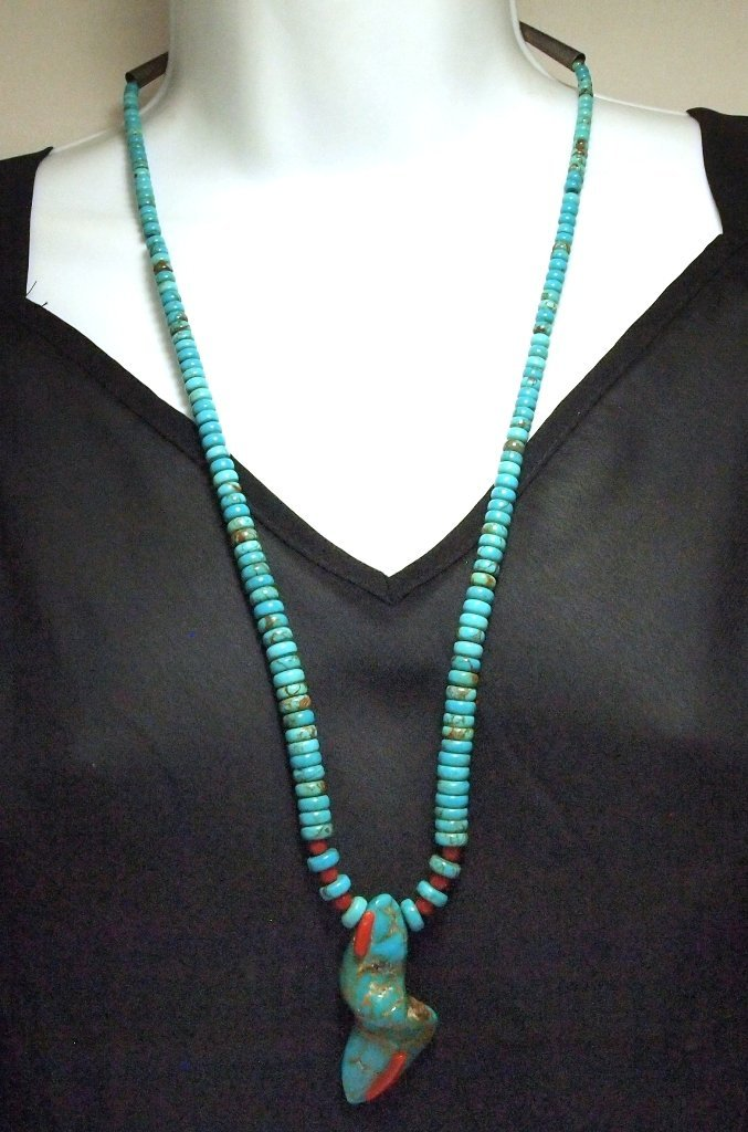 Vintage Old Pawn Navajo Coral & Natural Blue Gem