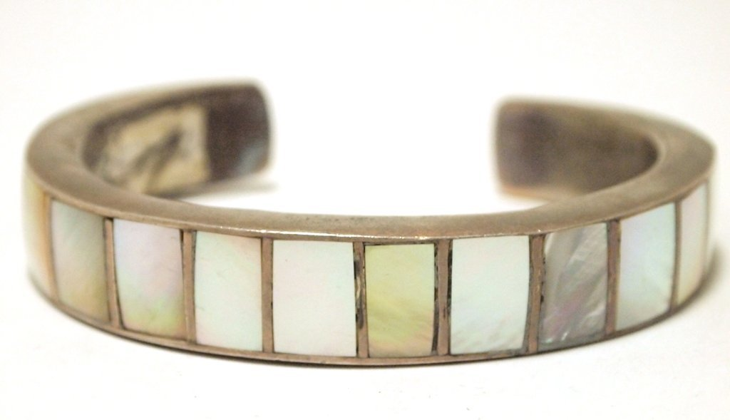 Vintage Old Pawn Navajo Mother of Pearl Inlay Sterling