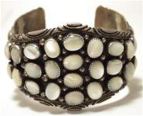 Vintage Old Pawn Navajo Mother of Pearl Sterling Silver