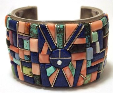 c9e3045d496 ... Vintage Old Pawn Navajo Multi-Stone Turquoise Inlay · placeholder Old  Pawn Navajo Coral Sterling Silver Cuff Bracelet -