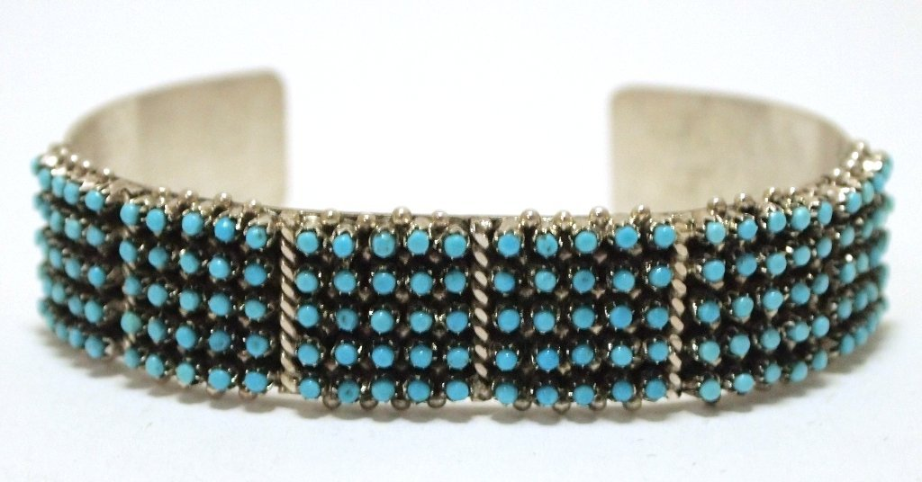 Zuni Turquoise Sterling Silver Cuff Bracelet - April