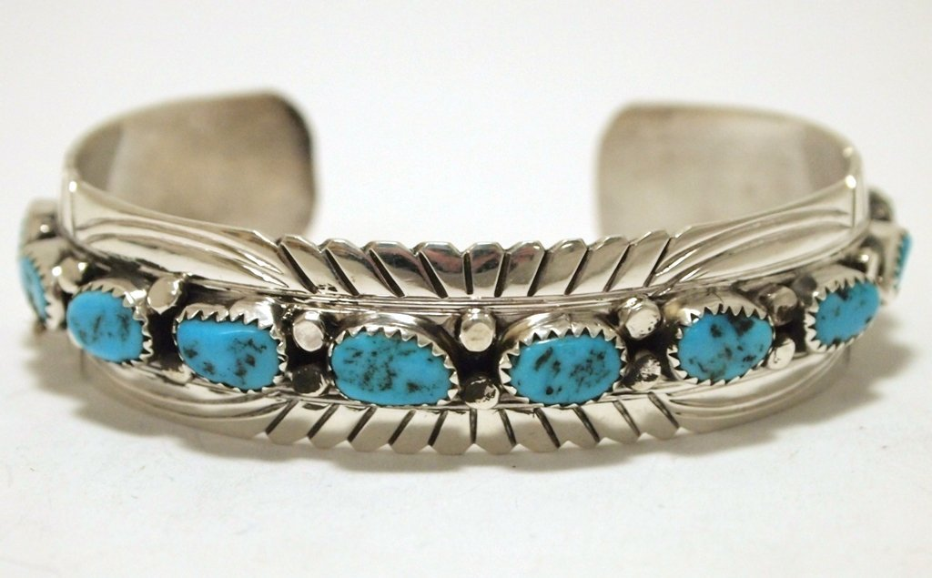 Navajo Turquoise Sterling Silver Cuff Bracelet - Julie