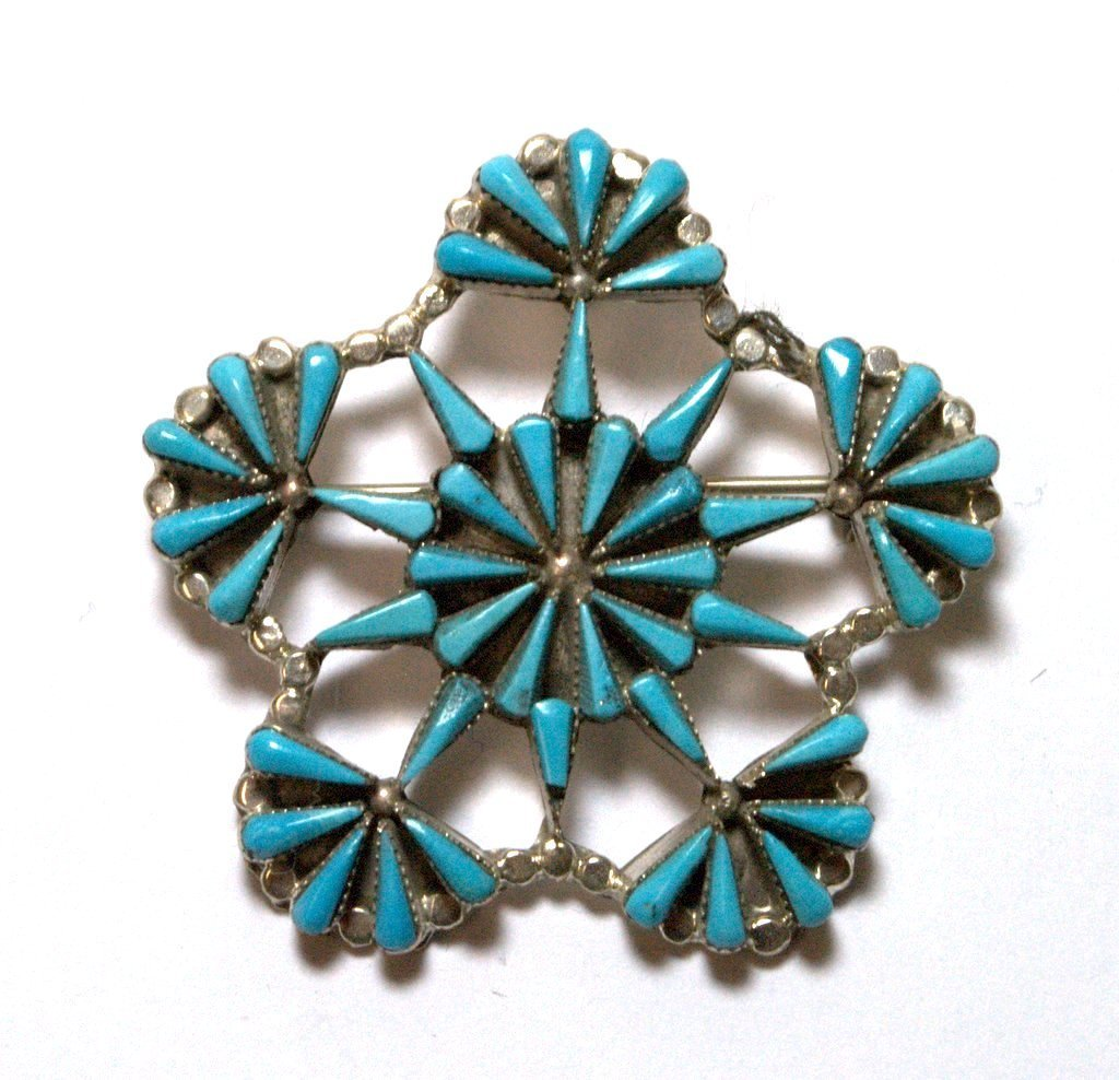 Zuni Turquoise Star Flower Pendant & Pin
