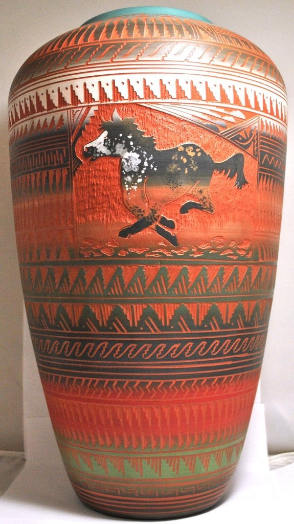 Navajo 2-Sided Running & Standing Horse Etched Pottery