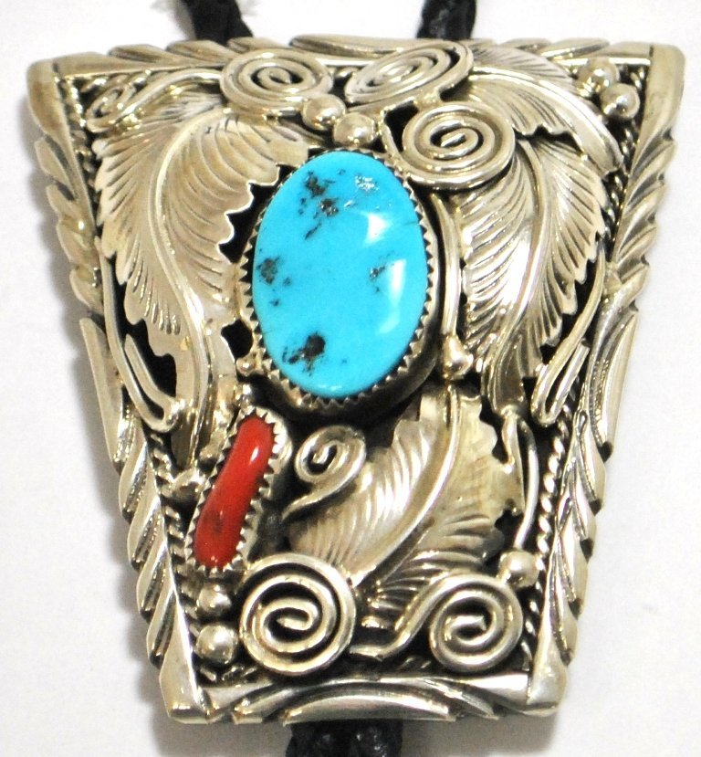 Navajo Coral & Turquoise Sterling Silver Bolo Tie - M.