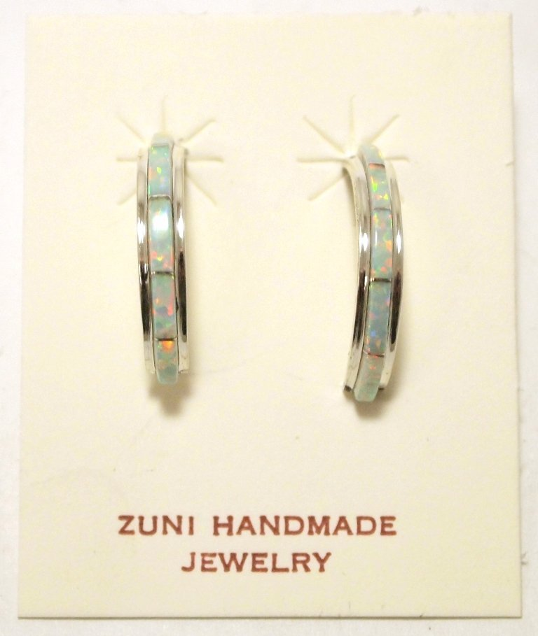 Zuni Opal Inlay Sterling Silver Half-Ring Post Earrings
