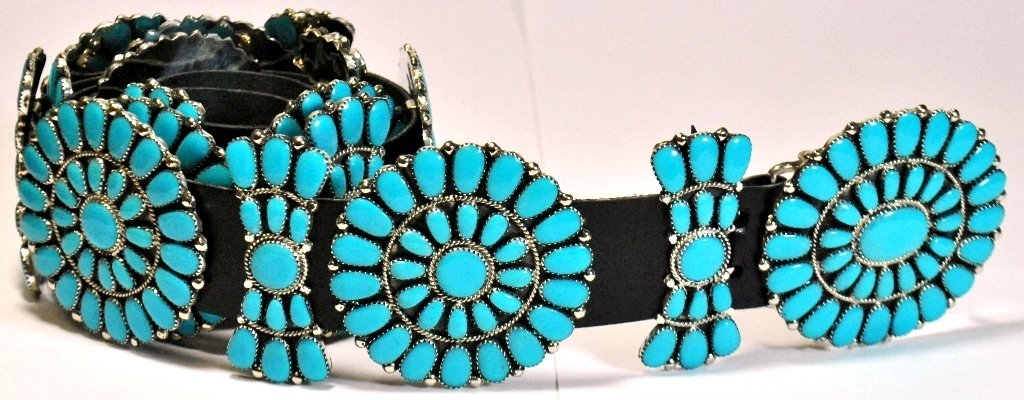 Navajo Turquoise Sterling Silver Concho Belt - Juliana