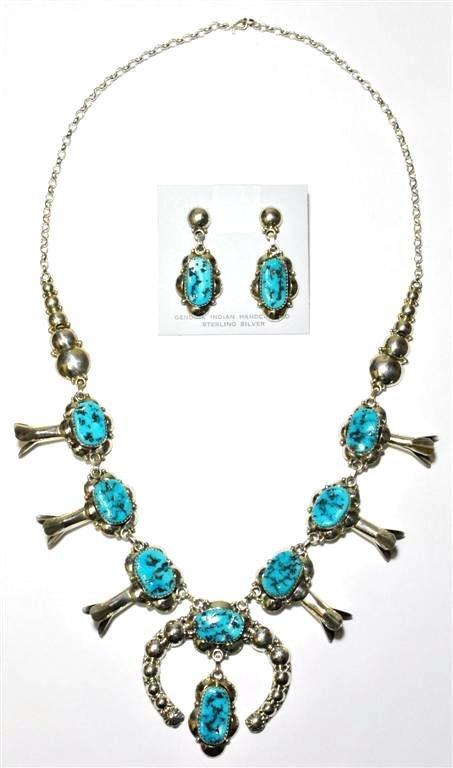 Navajo Sleeping Beauty Turquoise Necklace & Earrings