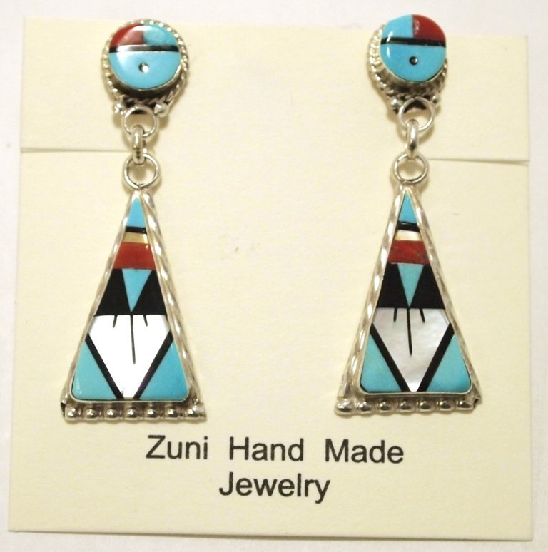 Zuni Multi-Stone Inlay Sun Face Sterling Silver Post