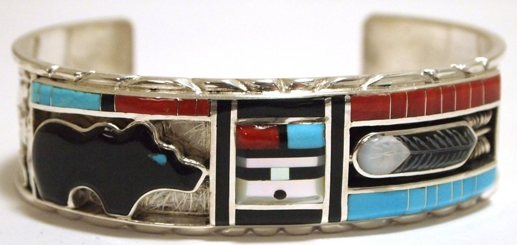 Zuni Multi-Stone Inlay Bear Sunface & Feather Sterling