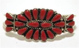 Navajo Coral Sterling Silver Cuff Bracelet - Renee