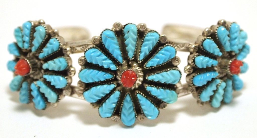 Old Pawn Zuni Coral & Turquoise Sterling Silver Cuff