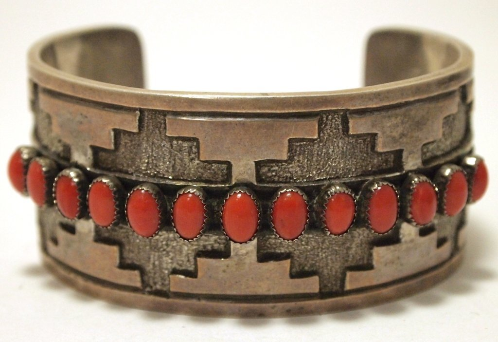 Vintage Old Pawn Navajo Coral Sterling Silver Cuff