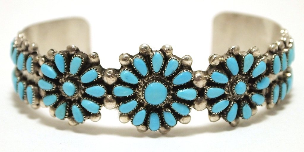 Old Pawn Zuni Turquoise Needlepoint Sterling Silver