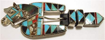 Old Pawn Zuni Multi-Stone Inlay Horse Sterling Silver