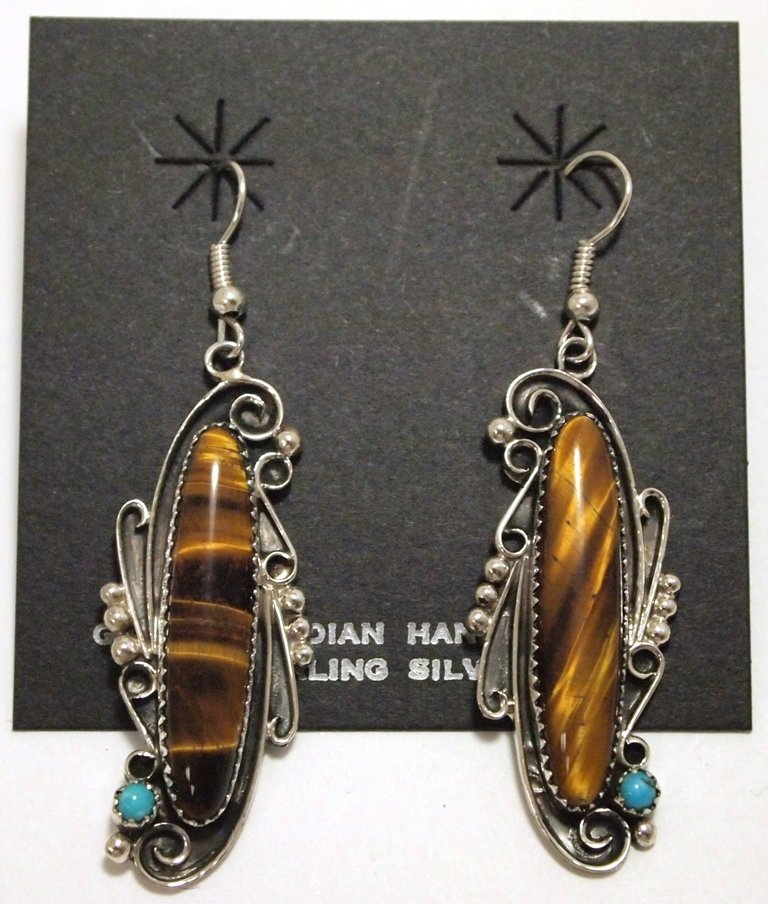 Navajo Tiger's Eye & Turquoise Sterling Silver French