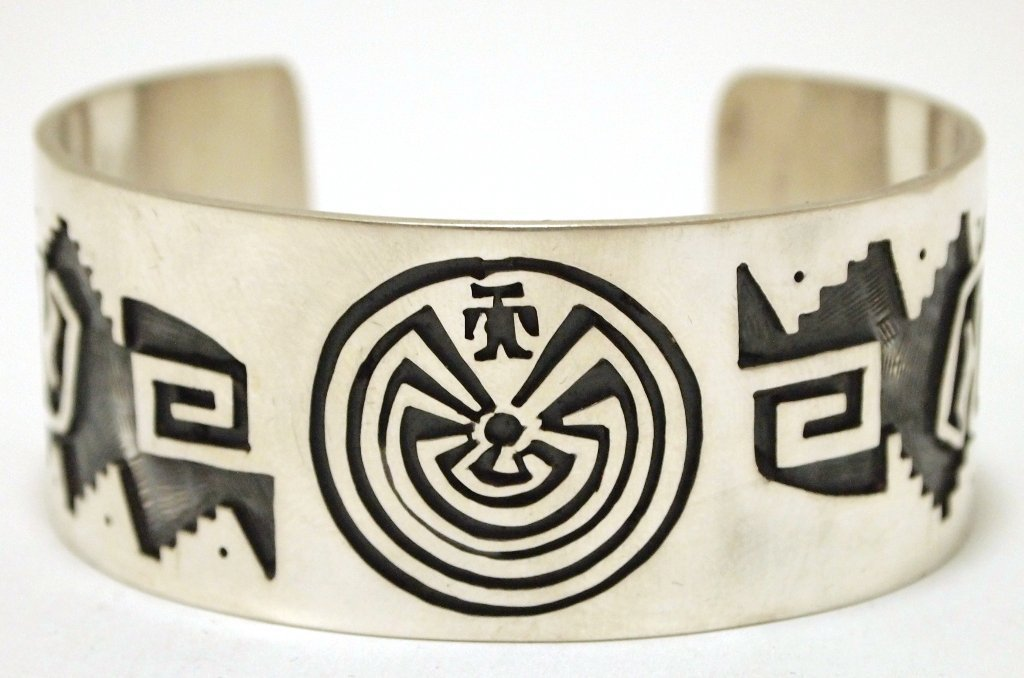 Navajo Sterling Silver Man on Maze & Bears Cuff