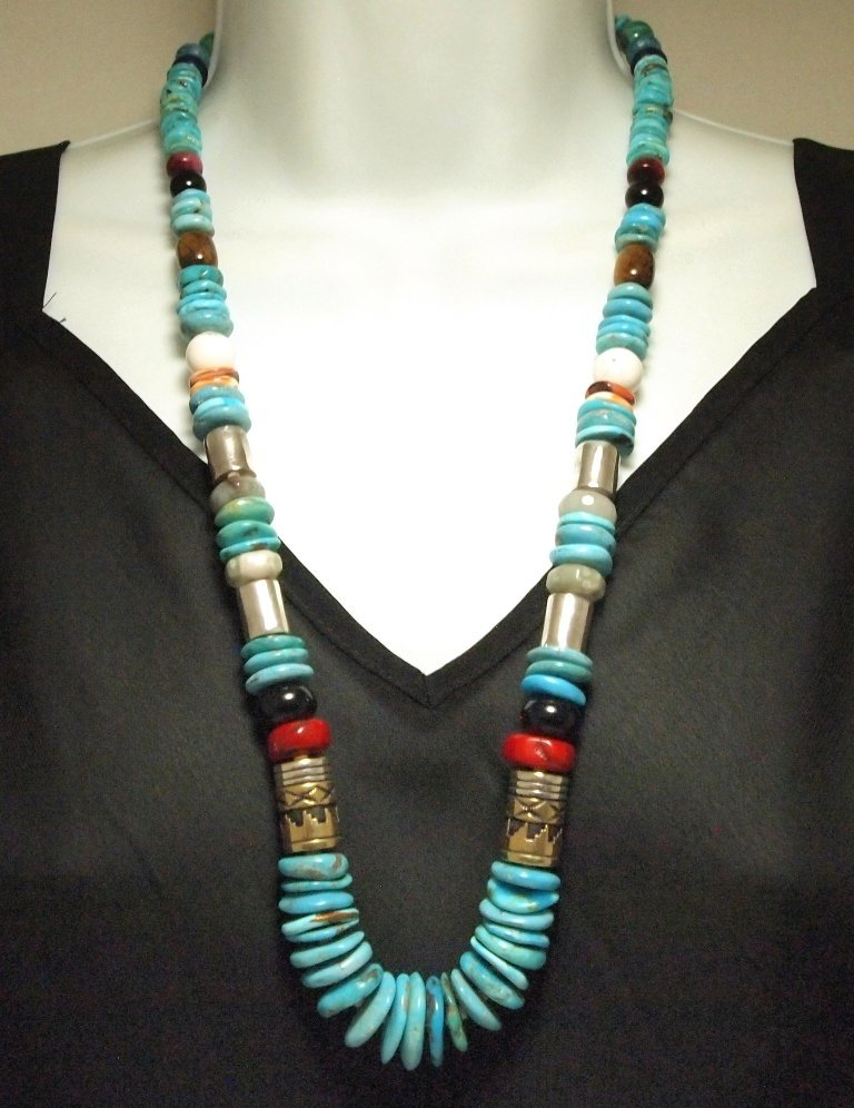Navajo Turquoise & Multi-Stone 26 Necklace - Tommy