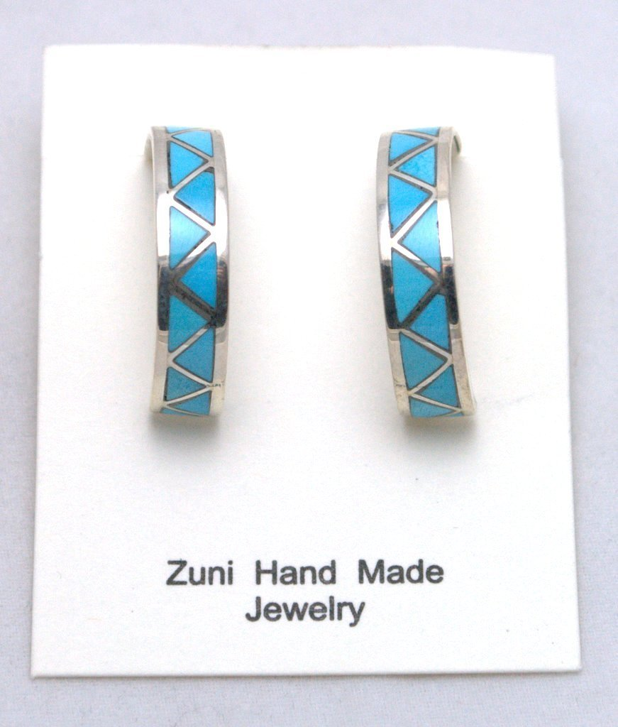 Zuni Turquoise Large Half-Ring Zig-Zag Design Earrings