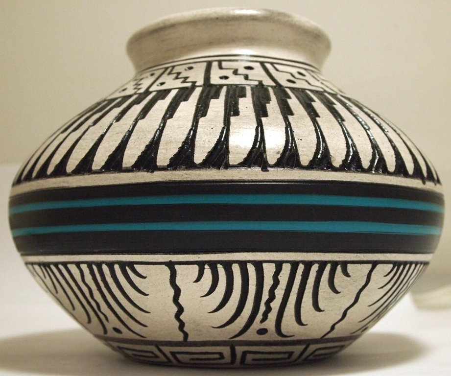 Navajo Etched & Hand Painted Pottery - Dewayne &
