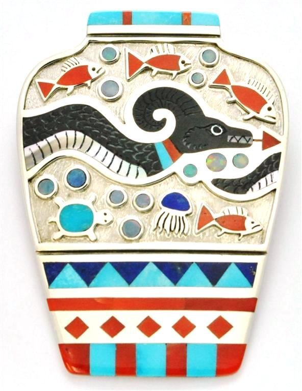 Zuni Multi-Stone Sea Serpent Sterling Silver Pottery