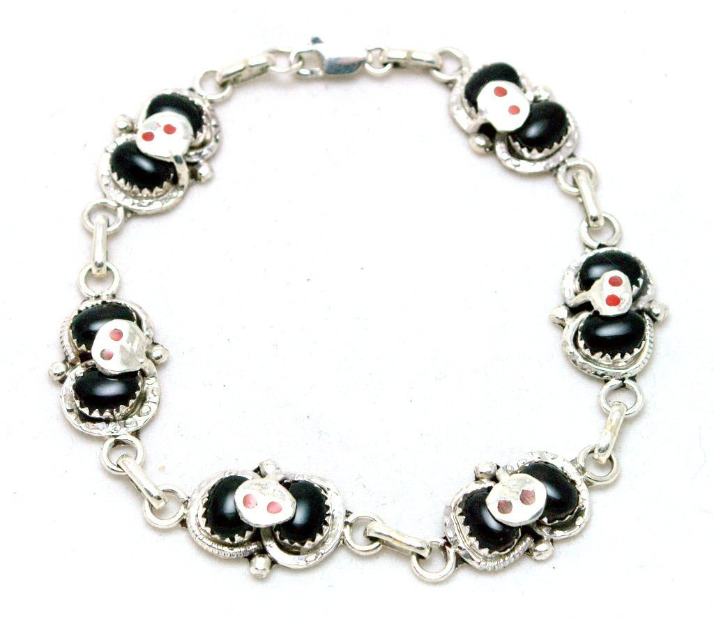 Zuni Onyx Sterling Silver Snake with Coral Eyes Link