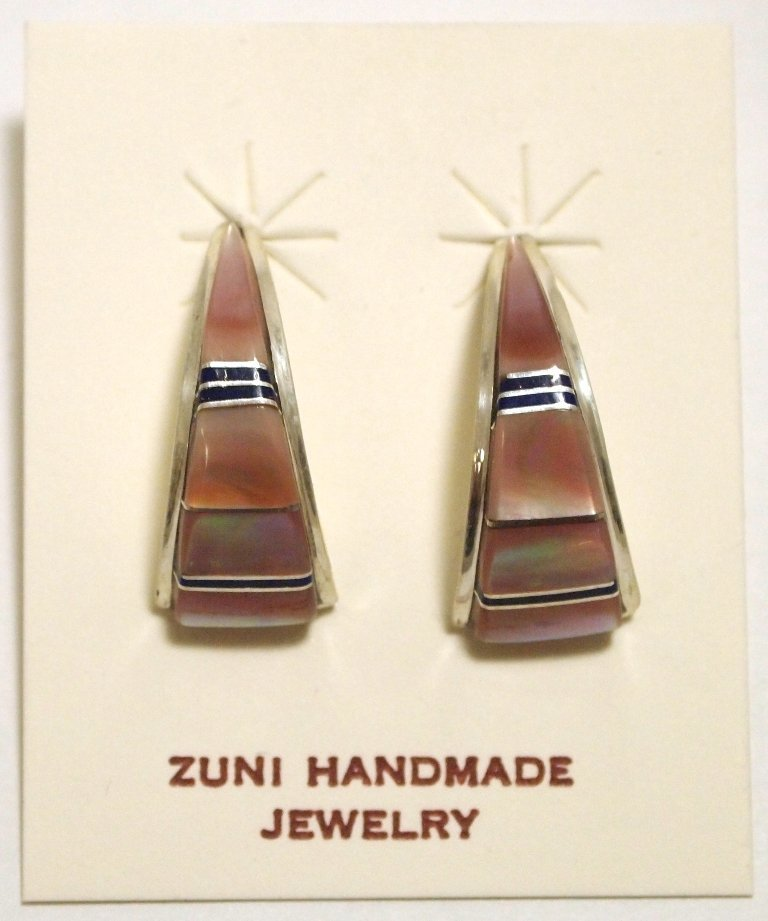 Zuni Multi-Stone Inlay Sterling Silver Curved Post
