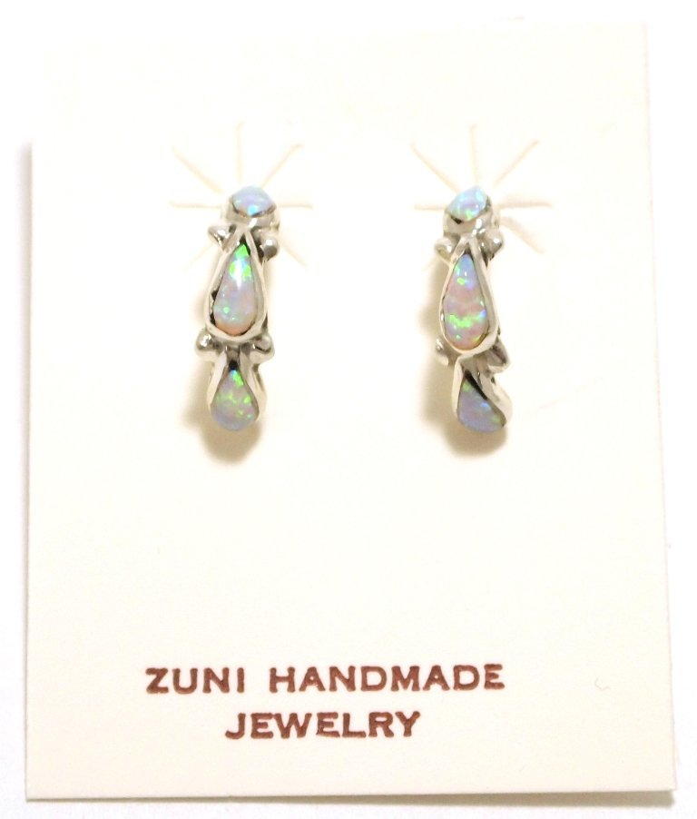 Zuni White Opal Sterling Silver Small Half-Ring Post