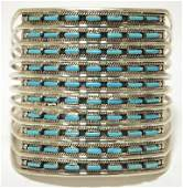 Navajo Turquoise Needlepoint Sterling Silver Cuff