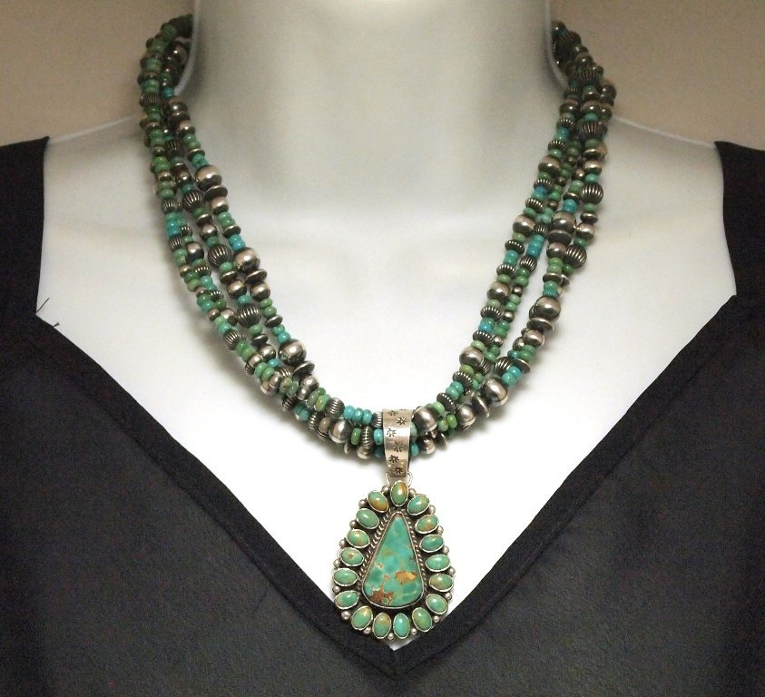 Navajo Royston Turquoise Sterling Silver 4-Strand