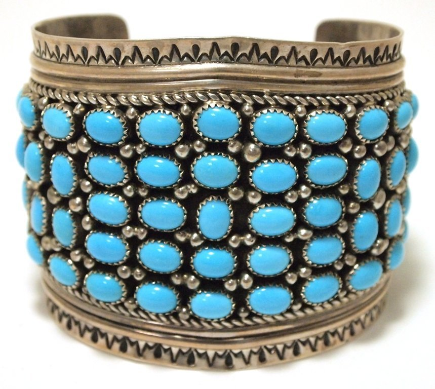 Old Pawn Navajo Kingman Turquoise Cluster Sterling